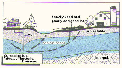 illustration of potential pathways Animal Lots can contaminate groundwater